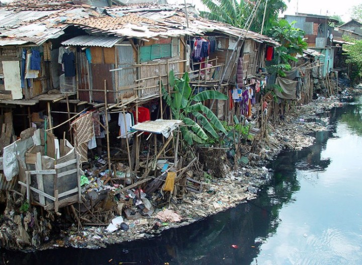 Slum in Jakarta swamp