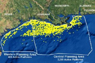 Map of the northern Gulf of Mexico showing the nearly 4,000 active oil and gas platforms. NOAA Photo