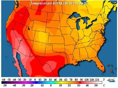 US Temperature Map Shows Heat and Drought Stricken Southwest